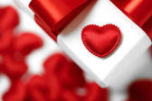Gifts boxes with textile hearts, valentines day concept — Foto de Stock