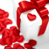 Gifts boxes with textile hearts, valentines day concept — ストック写真