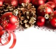 Christmas border with red ornament — Stock Photo #57454165