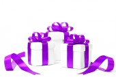 Set of gift boxes with a tape — Stock Photo