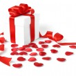 Gifts boxes with textile hearts, valentines day concept — Stock Photo #57740287
