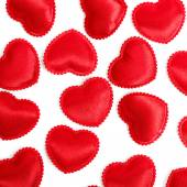 Felt red hearts isolated on a white background — Zdjęcie stockowe