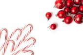 Christmas Decoration. Red Balls And Bells — Stock Photo