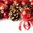 Christmas border with red ornament — Stock Photo #58279299