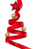 Christmas tree from ribbon background — Stok fotoğraf