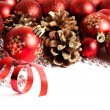 Christmas border with red ornament — Stock Photo #58479849