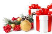 Gift with christmas tree and candy — Stock Photo