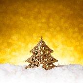 Golden christmas fir tree decoration — Zdjęcie stockowe