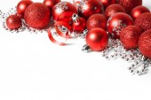 Christmas border with red ornament — Stock Photo
