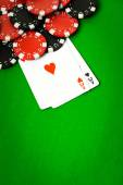 Poker cloth, a deck of cards — Stock Photo