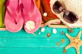 Zomer accessoires en schelpen — Stockfoto