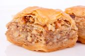 Baklava with walnut close up view — Stock Photo