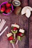 Fruit skewers close up — Stock Photo
