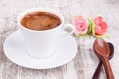 Turkish coffee and two spoons — Stock Photo