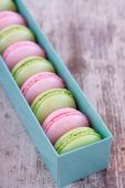 Colorful macaroons in box — Stock Photo