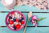 Muesli in bowl on table — Stock Photo