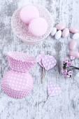 Sugar coated candies, cupcake baking cups, macaroons — Stock Photo