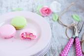 Tasty Macaroons on a plate — Stock Photo