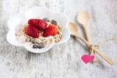 Muesli with yogurt and strawberry — Stock Photo