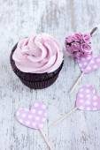Pink chocolate cupcake — Stock Photo