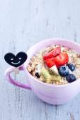 Tasty Muesli with fruits — Stock Photo