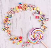 Assorted colourful candies and lollipop — Stock Photo