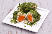 Boiled potato and carrot covered with parsley and dill — ストック写真