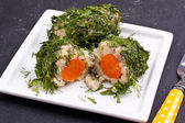 Boiled potato and carrot covered with parsley and dill — Stock Photo