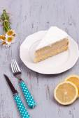 A slice of lemon cake — Stock Photo