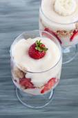 Trifle dessert with strawberries — Stock Photo