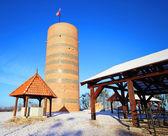 "Castle Hill with a rebuilt tower ""Klimek"" in Grudziadz — Stock Photo"