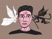 Man between angel and demon — Stok Vektör