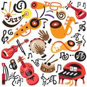 Musical instruments - doodles set — Stock Vector