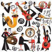Jazz musicians - vector cartoons — Vector de stock