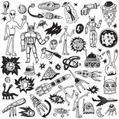 Space - doodles collection — Stock Vector