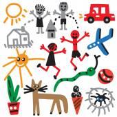 Drawings in kids style — Vector de stock