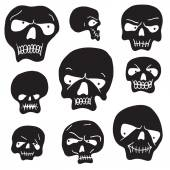 Skulls cartoon set — Stock Vector