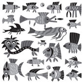 Fishes - cartoons set — Stock Vector