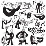 Постер, плакат: Jazz musicians symbols
