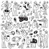 Jazz musicians -doodles set — Stock Vector