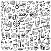 Cookery, natural food - doodles collection — Stock Vector