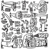 Graffiti, spray paint - doodles set — Stock Vector