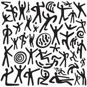 Dancing people - doodles set — Stock Vector