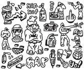 Rap , hip hop - doodles set — Stock Vector