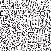 Crazy city - seamless vector background — Stock Vector