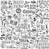 Shopping - doodles set — Stock Vector