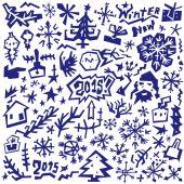 Winter , Christmas symbols - doodles set — Stock Vector