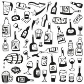 Alcohol bottles - doodles — Stock Vector