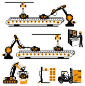 Automation in production line and industrial engineering management — Stock Vector
