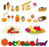 A set of delicious fruit and sweets — Stock Vector